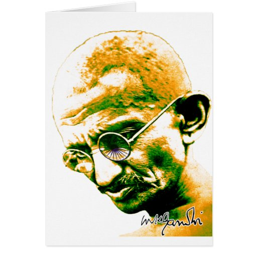 Ghandi in orange, green and white card