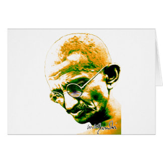 Ghandi in orange, green and white greeting card