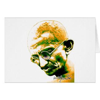 Ghandi in orange, green and white greeting card