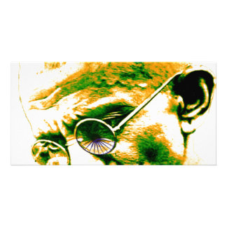 Ghandi in orange green and white photo cards