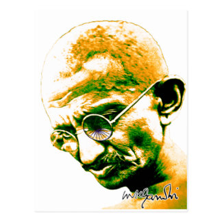 Ghandi in orange, green and white postcard