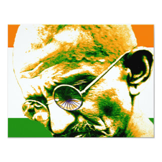 Ghandi in orange green and white with flag 11 cm x 14 cm invitation card