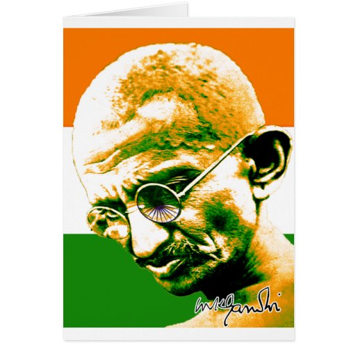Ghandi in orange green and white with flag card