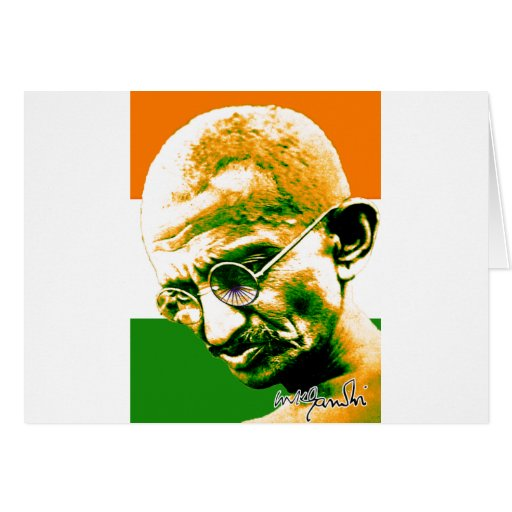 Ghandi in orange green and white with flag greeting cards