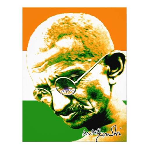 Ghandi in orange green and white with flag full color flyer