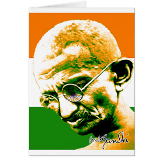 Ghandi in orange green and white with flag greeting card