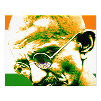 Ghandi in orange green and white with flag announcement