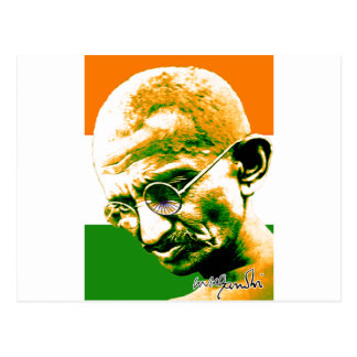 Ghandi in orange green and white with flag postcard
