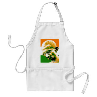 Ghandi in orange green and white with flag standard apron