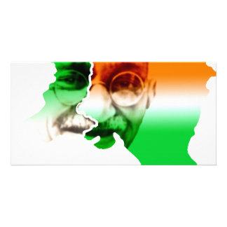 ghandi-on-india-and-pakistan-border photo greeting card