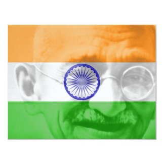 Ghandi on Indian Flag 11 Cm X 14 Cm Invitation Card