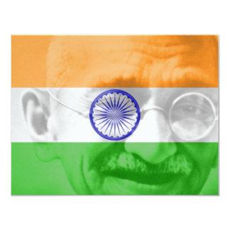 Ghandi on Indian Flag 11 Cm X 14 Cm Invitation Card