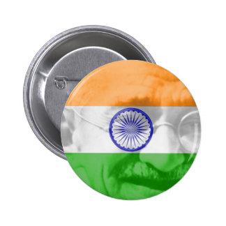 Ghandi on Indian Flag 6 Cm Round Badge