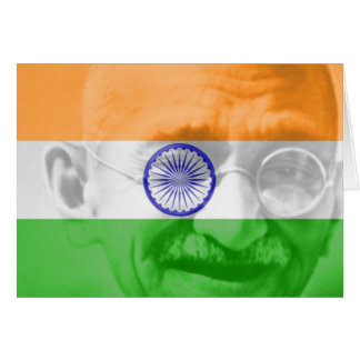 Ghandi on Indian Flag Greeting Cards