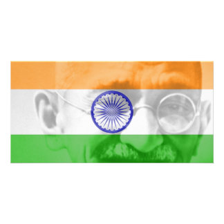 Ghandi on Indian Flag Photo Card Template