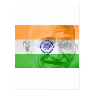Ghandi on Indian Flag Postcard