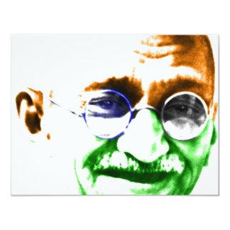 Ghandi on Subtle Indian Flag 11 Cm X 14 Cm Invitation Card