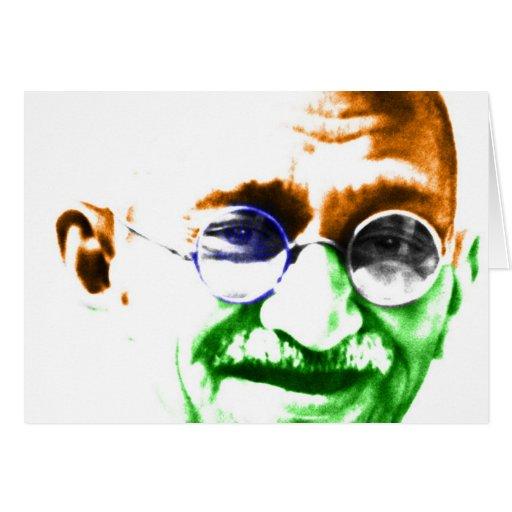 Ghandi on Subtle Indian Flag Greeting Cards