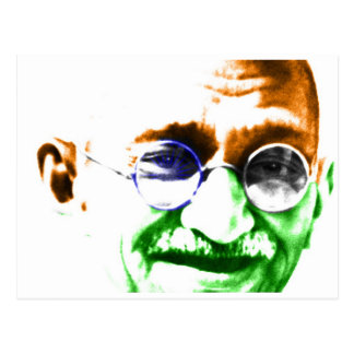 Ghandi on Subtle Indian Flag Postcard