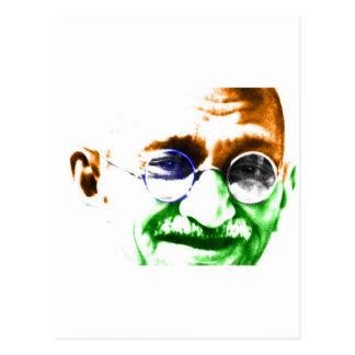 Ghandi on Subtle Indian Flag Postcards