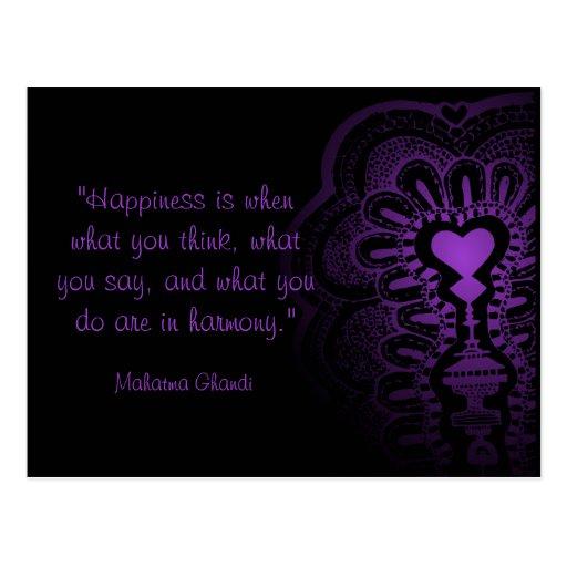 Ghandi quote india henna purple heart love pink postcards