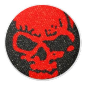 Ghastly Red Skulls on Black Ceramic Knob