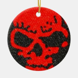 Ghastly Red Skulls on Black Ceramic Ornament