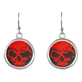 Ghastly Red Skulls on Black Earrings