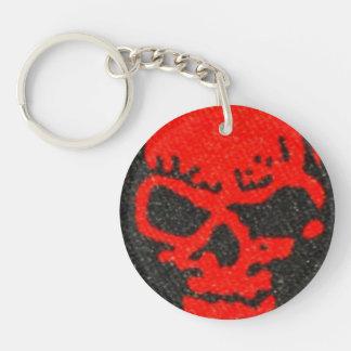 Ghastly Red Skulls on Black Key Ring