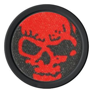 Ghastly Red Skulls on Black Poker Chips
