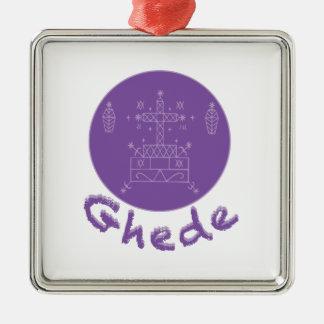 Ghede Samedi Veve Silver-Colored Square Ornament