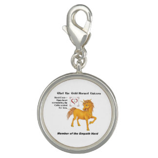 Ghel with Herd Info-Round Silver Plated Charm
