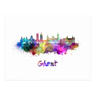 Ghent skyline in watercolor postcard
