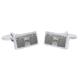 GHETTO BLASTER SILVER FINISH CUFF LINKS