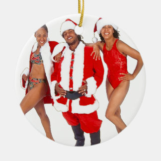 Ghetto Santa and his Elves from the Hood Round Ceramic Decoration
