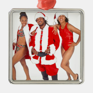 Ghetto Santa and his Elves from the Hood Silver-Colored Square Decoration