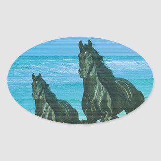 Ghora Chowpati - Wild Black Horse Pair Oval Stickers