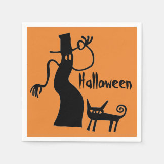Ghost and Black Cat Paper Serviettes