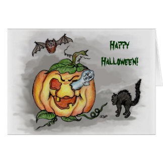 ghost,bat and cat, Happy Halloween! Greeting Card