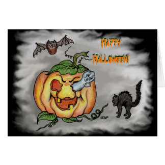 Ghost Bat and Cat Happy Halloween Note Card