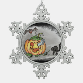 Ghost, Bat and Cat, Happy Halloween! Snowflake Pewter Christmas Ornament