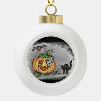 Ghost, Bat and Cat, Happy Halloween! Ceramic Ball Christmas Ornament