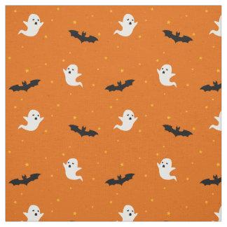 Ghost & Bats Orange Halloween Pattern Fabric