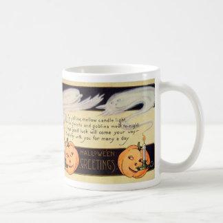 Ghost Candle Jack O Lantern Vintage Halloween Basic White Mug