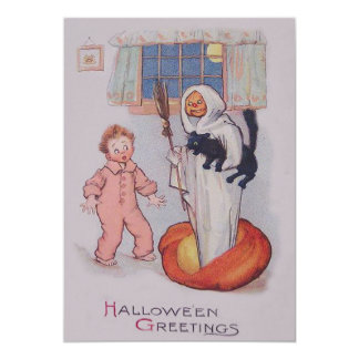 Ghost Costume Smiling Jack O Lantern Black Cat Card