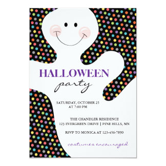 Ghost Dots Halloween Party Invitations