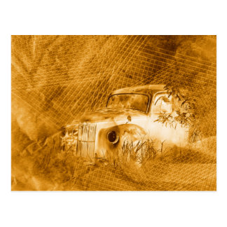 Ghost driver in rust horizontal postcard