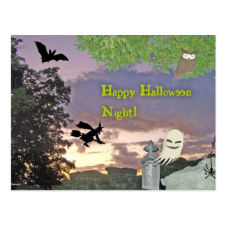 Ghost, Flying Witch & Owl For Halloween Night Postcard