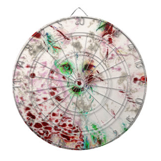 Ghost Fox Eyes Abstract Art Red and White Dartboards