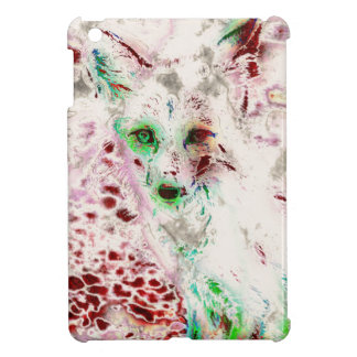 Ghost Fox Eyes Abstract Art Red and White iPad Mini Cover